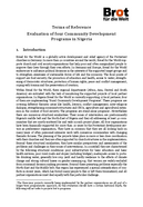 Terms of Reference - Evaluation Community Development Programs in Nigeria