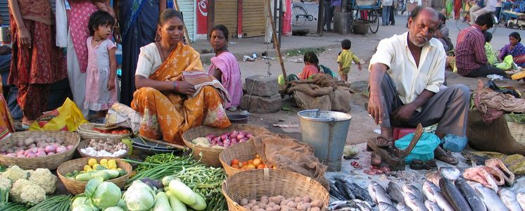 Indian traders selling vegetables and fish on the roadside