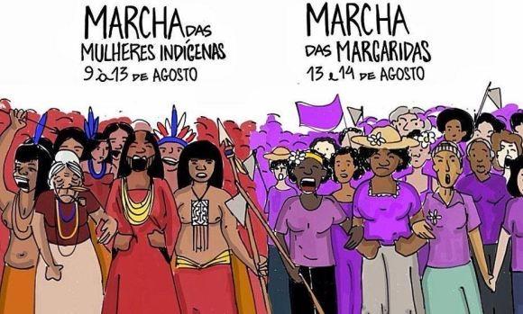 Cartoon Demonstrationen Indigene Frauen und Landarbeiterinnen